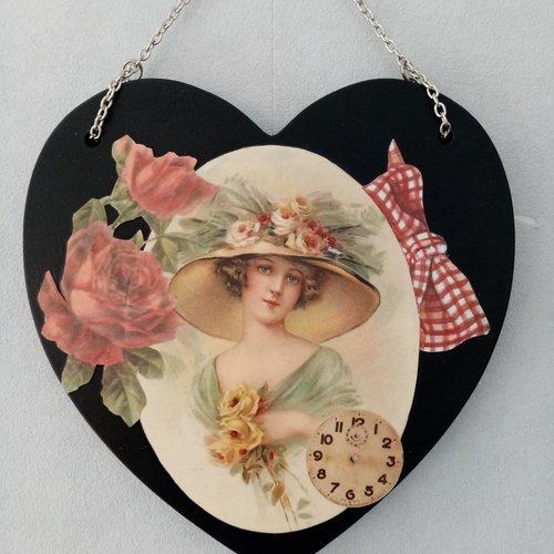 Coeur en bois.décoration maison.plaque de porte