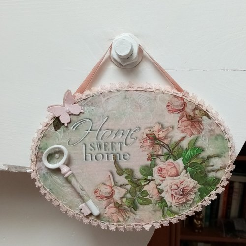 Plaque shabby chic.décoration murale romantique.home sweet home