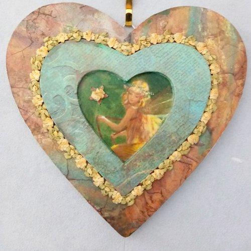 Coeur en bois.décoration murale.suspension murale