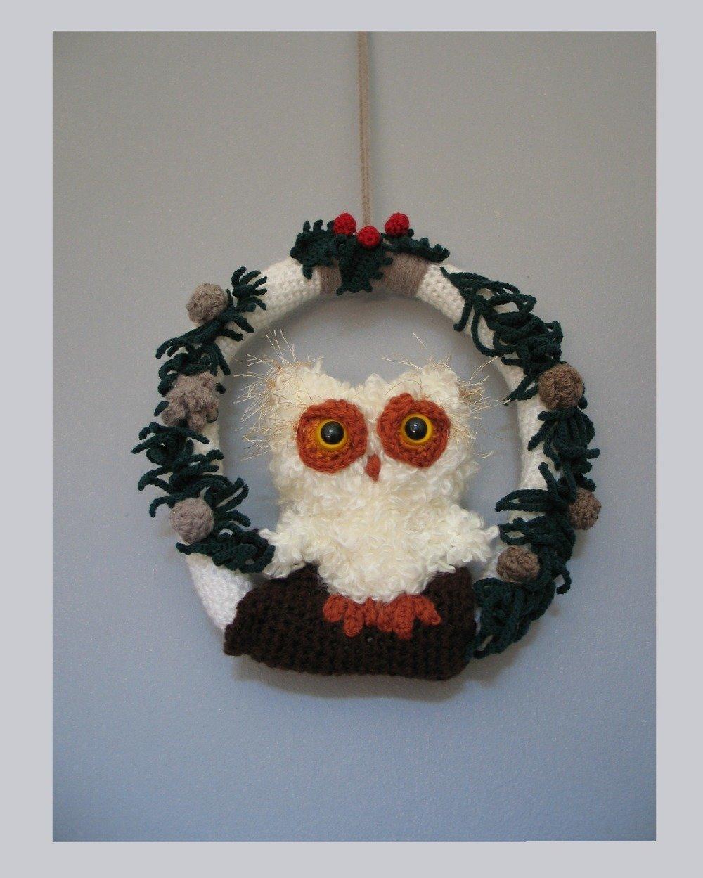 Couronne De Noël Chouette Au Crochet