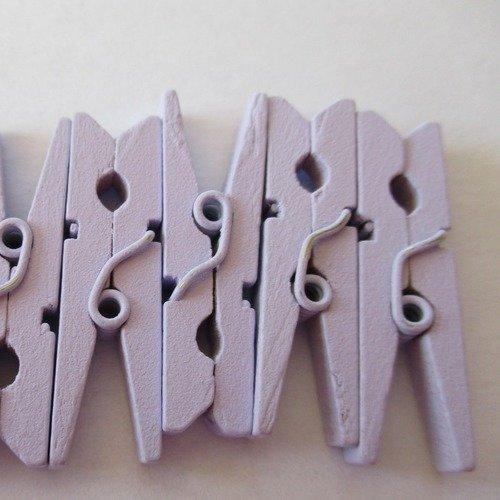 20 pince a linge en bois de couleur mauve pâle  - 2213357