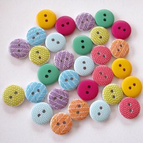 20 boutons bois à dessins et unis - 15mm - 3691688
