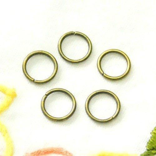 25 anneaux ouverts ronds  10 mm bronze