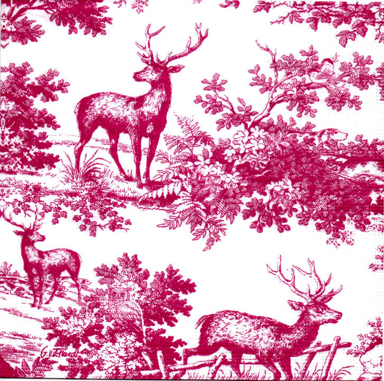 Serviette cerfs dans la forêt avec chouette dans les buissons