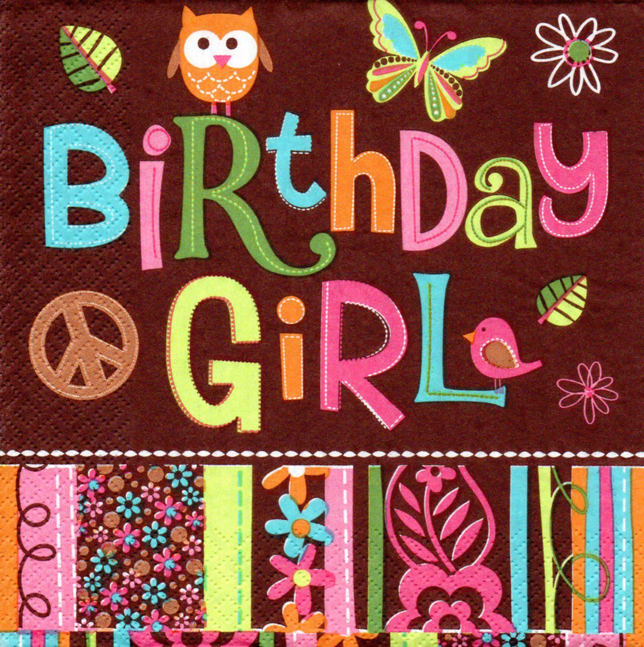 Serviette en papier petite chouette Birthday Girl des U.S.A.