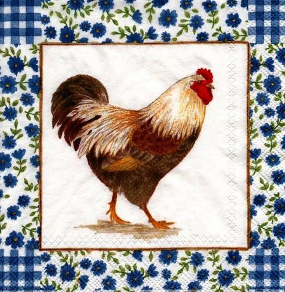 Serviette en papier Coq et Fleurs Bleues