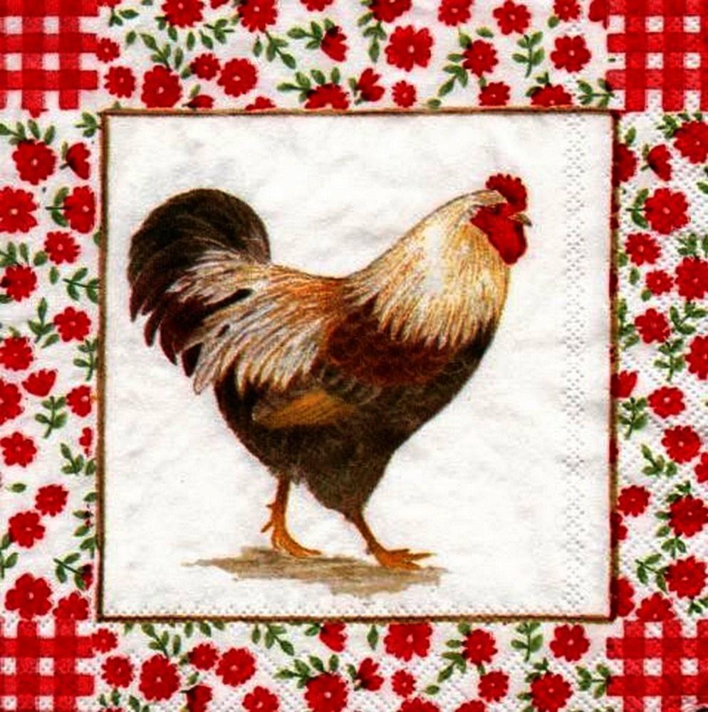 Serviette en papier Pâques poule et Fleurettes rouges