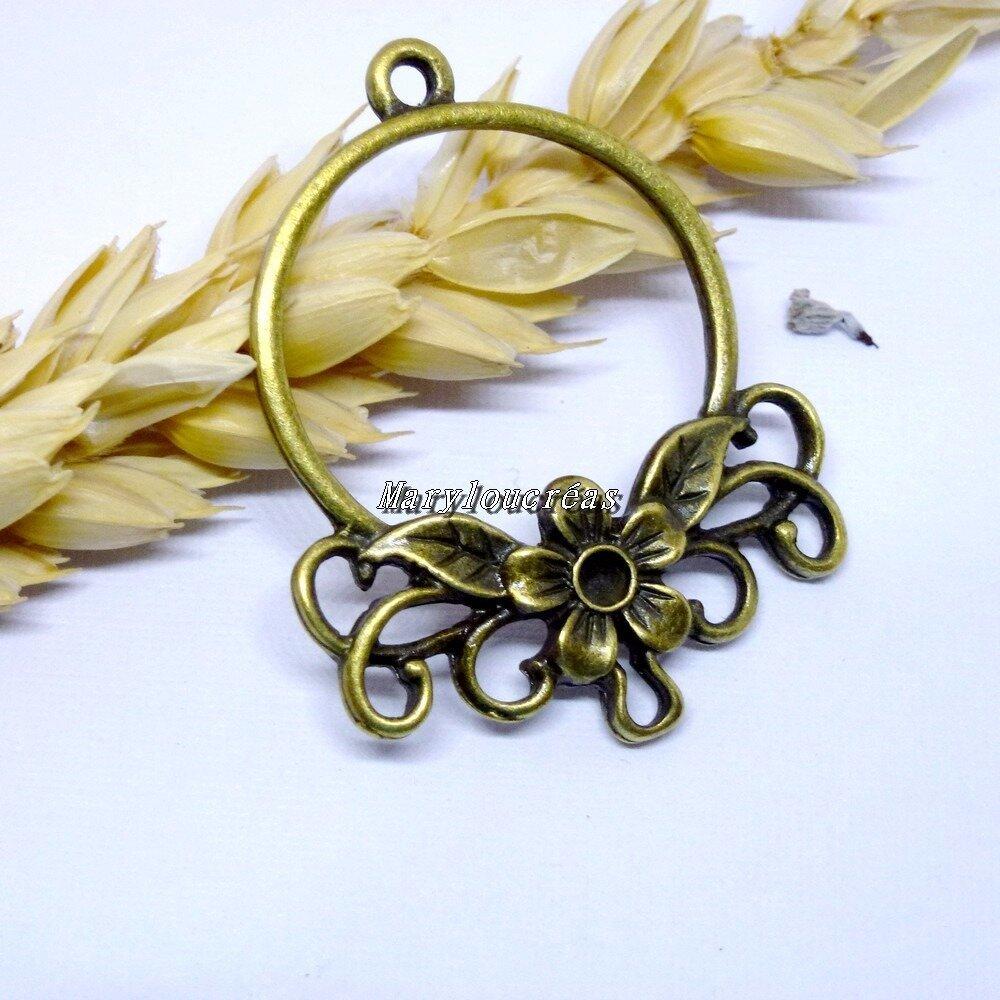 2 pendentifs connecteur fleur bronze 3,4 x 2,7 cm