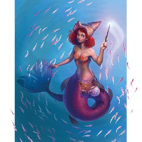Poster a3 sirène sorcière