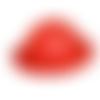 1 demi sphère cabochon en cuir orange brique et noir peau de lézard  tailles 40 mm