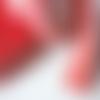 Vendu au mètre : ruban sangle en coton/polyester rouge blanc cassé 5 cm de large