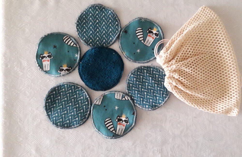 Disques à démaquiller assortiment bleu canard, lavables et réutilisables, et leur  filet de lavage