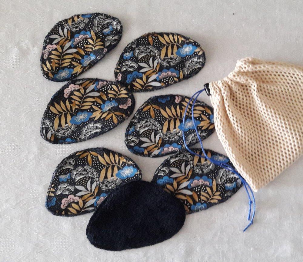 Disques à démaquiller galets fleurs tons bleu or, lavables et réutilisables, et leur  filet de lavage