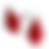 Boucles d'oreilles fantaisie cuir rouge poils vachette style breloques gouttes pampilles