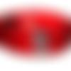 Bracelet créateur petite manchette cuir poils rouge & tête de mort : homme / femme