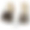 Sac unisexe épaule ou besace souple 46 x 36 x 18 cm en tissu imprimé et cuir marron style fleurs tropicales