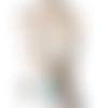 Sautoir pendentif bouledogue cuir turquoise perles et tissu liberty maryse richardson créations paris