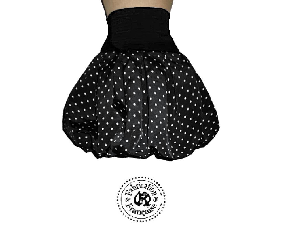 Jupe boule poches coton noir pois blanc taille au choix : 36 38 40 42 44 46 48 50 sur mesures