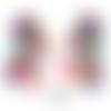 1 paire de boucles d'oreilles xxl totalement cuirs véritable luxe incrustations multicolores breloques attaches crochets ou pinces au choix