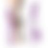 1 boucle d'oreille unique solo chaines perles & plumes cuirs ton violet