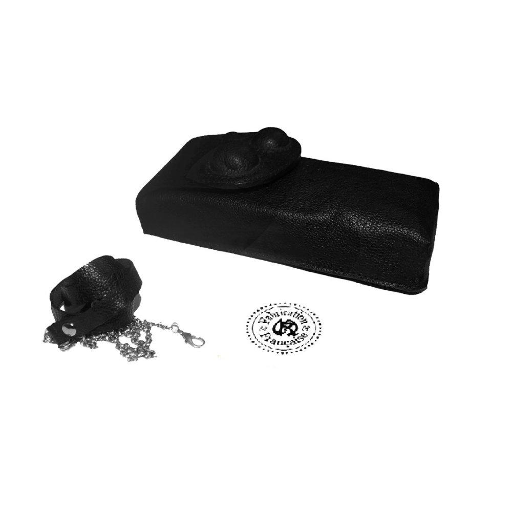 Etui à lunettes collier en cuir grainé noir luxe style sphères reliefs 3D 15,5 x 7 x 2,5 cm