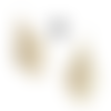 Boucles d'oreilles fantaisie cuir vachette poils écru ivoire style breloques gouttes pampilles