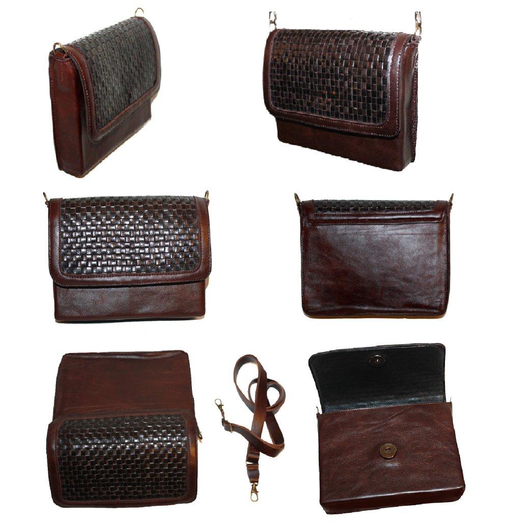 Mini sac à main pochette bandoulière 16 x 13 x 3 cm modulable en  besace cuir marron rabat tressé style damier
