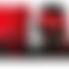 Ceinture haute couture sur-mesure en cuir et incrustations luxueuses brodées rouges