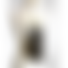 Collier sautoir en cuir doré léger plastron perforé hippie chic cascade de longues franges noires