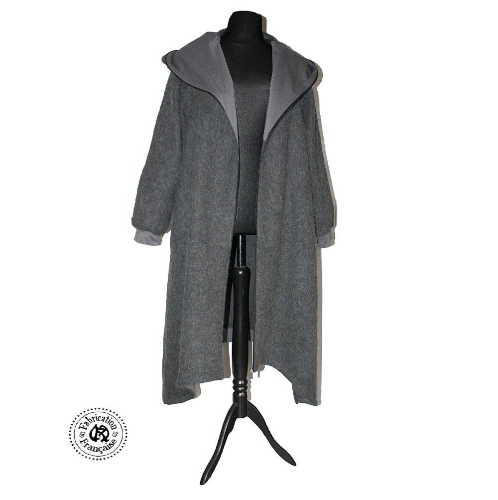 Long gilet créateur à capuche style veste sweat en tissu laine mohair femme grande taille 46 48