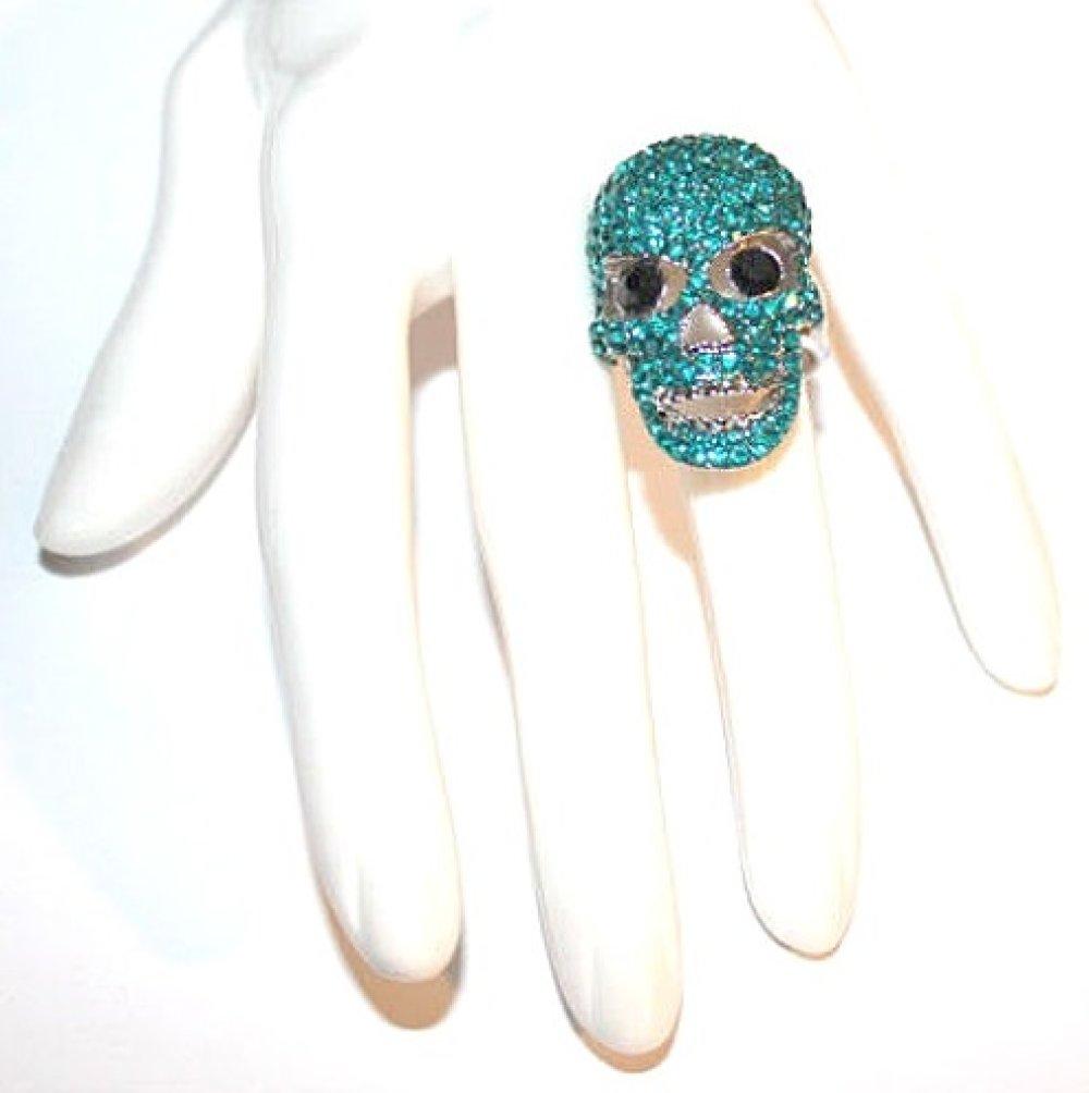 Bague argenté fantaisie style tête de mort strass turquoise grande taille au choix