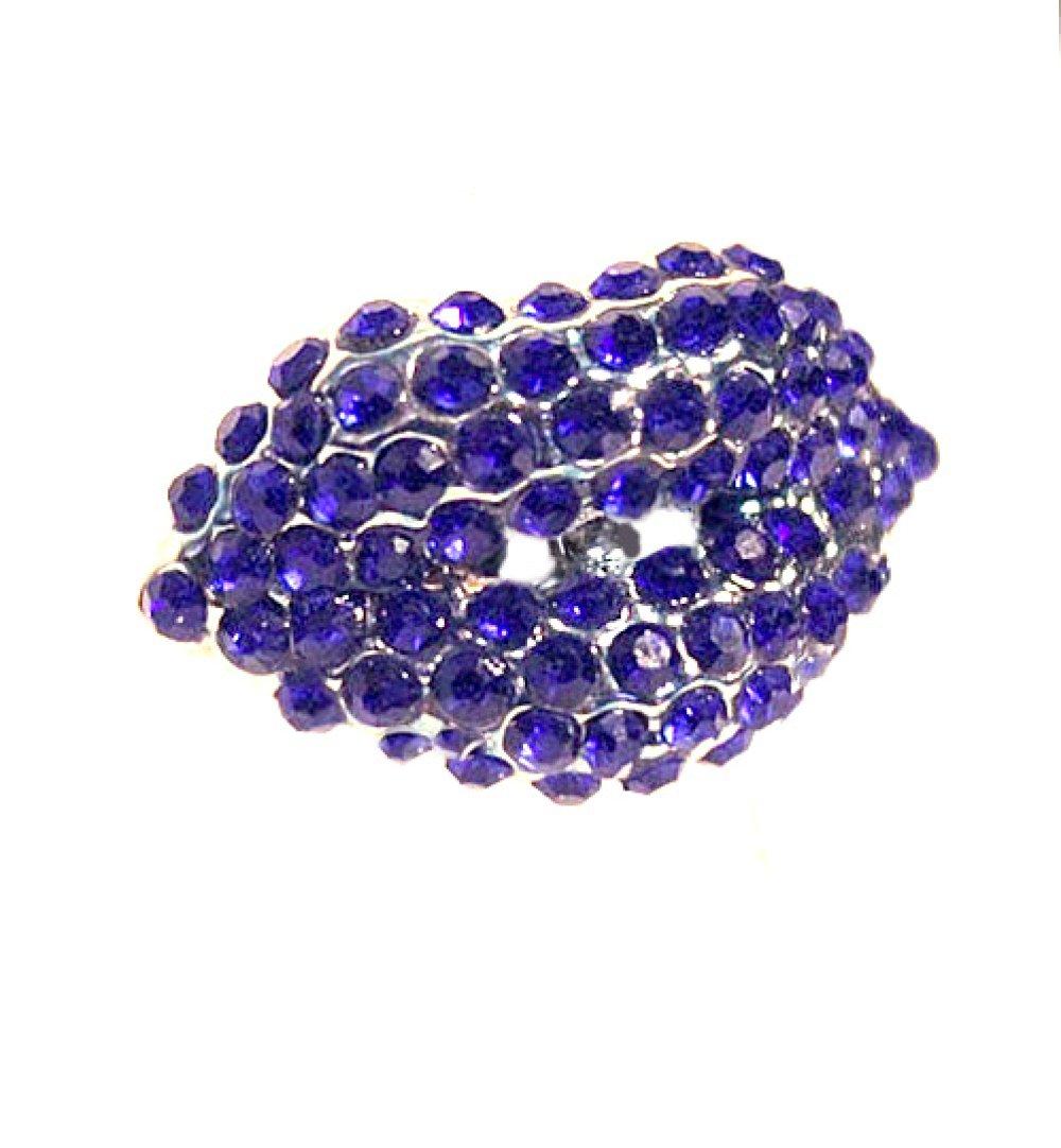 Bague fantaisie style chevalière forme bouche lèvres à strass ton bleu marine navy grande taille ajustable