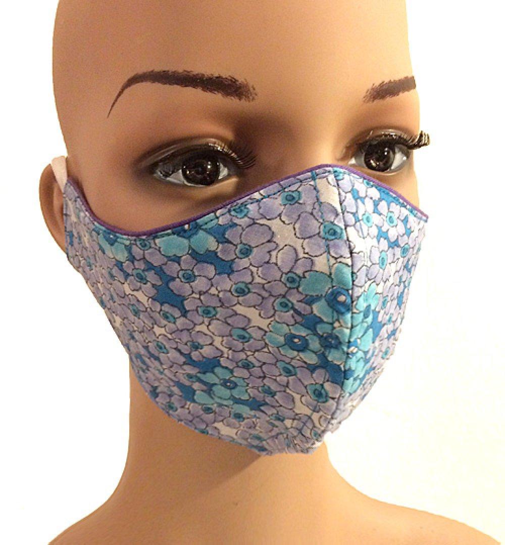 Masque en tissu liberty 100 % coton triple épaisseur lavable à 60° couleur au choix