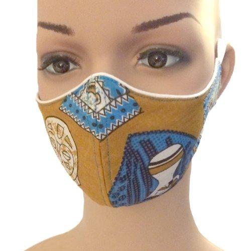 Masque en tissu ethnique ou uni 100 % coton réversible triple épaisseur lavable à 60°