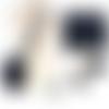 En cuir luxe sac bandoulière pochette 24 x 20 x 4 cm sangle ajustable cuir marine et rabat matelassé