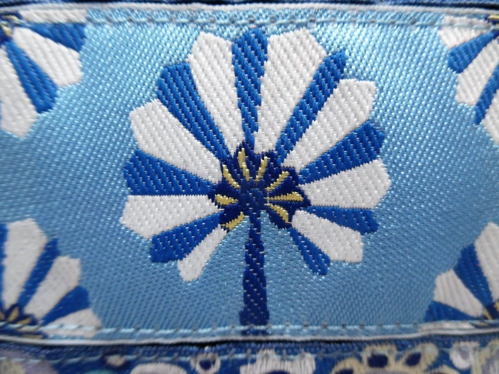 """Trousse en tissu et rubans tissés de designer """"fleur bleue"""""""