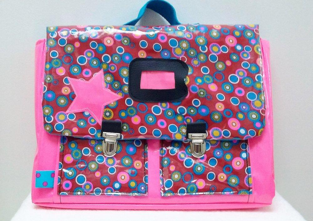 Cartable maternelle CP en coton enduit petit pan rose vif, rouge et ronds multicolores