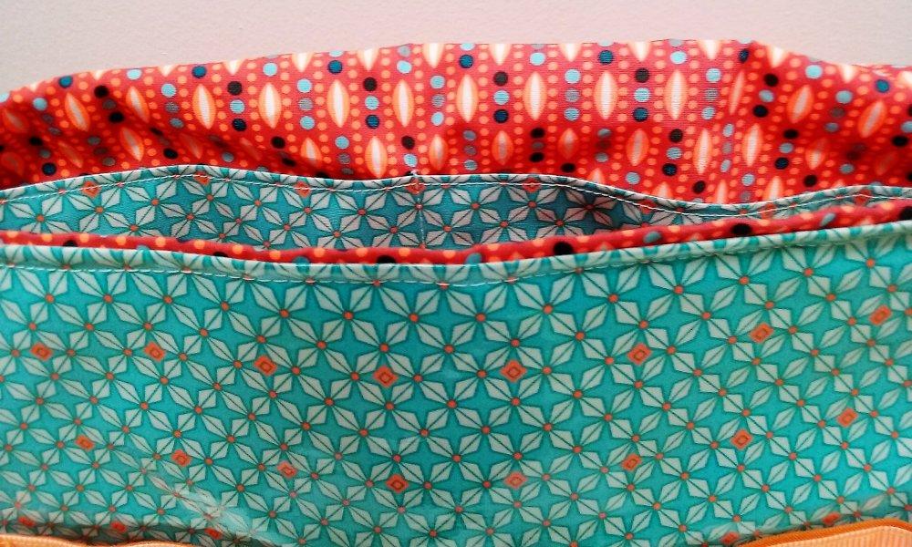 """Cartable enfant maternelle CP en coton enduit petit pan""""le petit rusé turquoise et orange"""