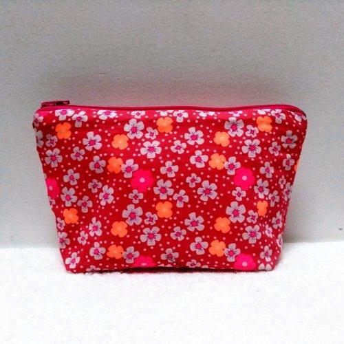 Pochette rangement masque, trousse, en coton petit pan fleur des îles  rose