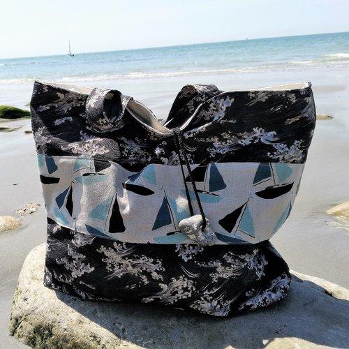 Sac de plage en tissu japonais vagues sur fond noir et bateaux à voiles