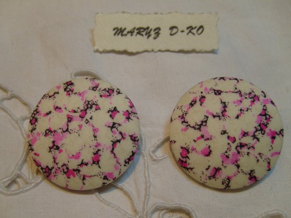 """Duo Boutons tissu 32mm """" Liberty Pablo Pepper rose """" feuillage"""