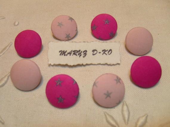 "8 Boutons tissu 22mm "" Assortiment batiste rose"""