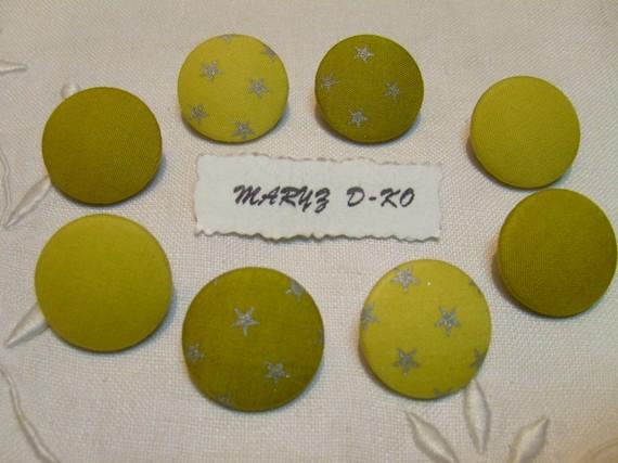 "8 Boutons tissu 22mm "" Assortiment batiste anis/olive """