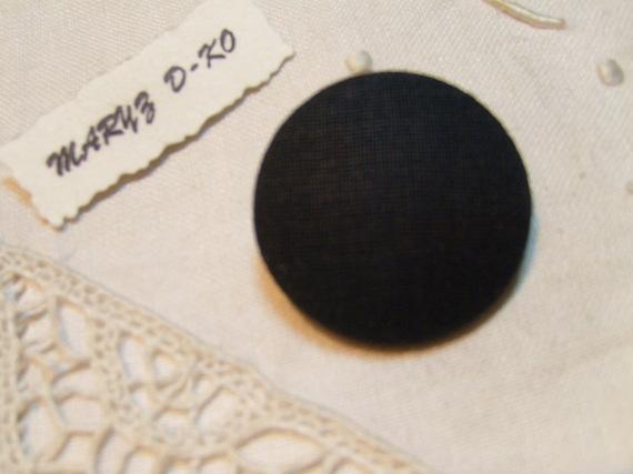 """Bouton 32mm recouvert d'un tissu lin et coton"""" Noir """""""