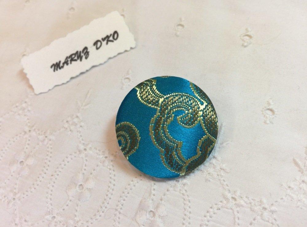 Bouton 32mm tissu brocard lamé turquoise