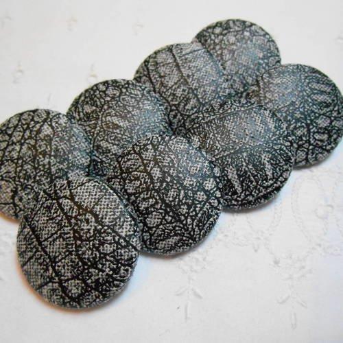 Boutons tissu simili imitation reptile gris/noir32mm