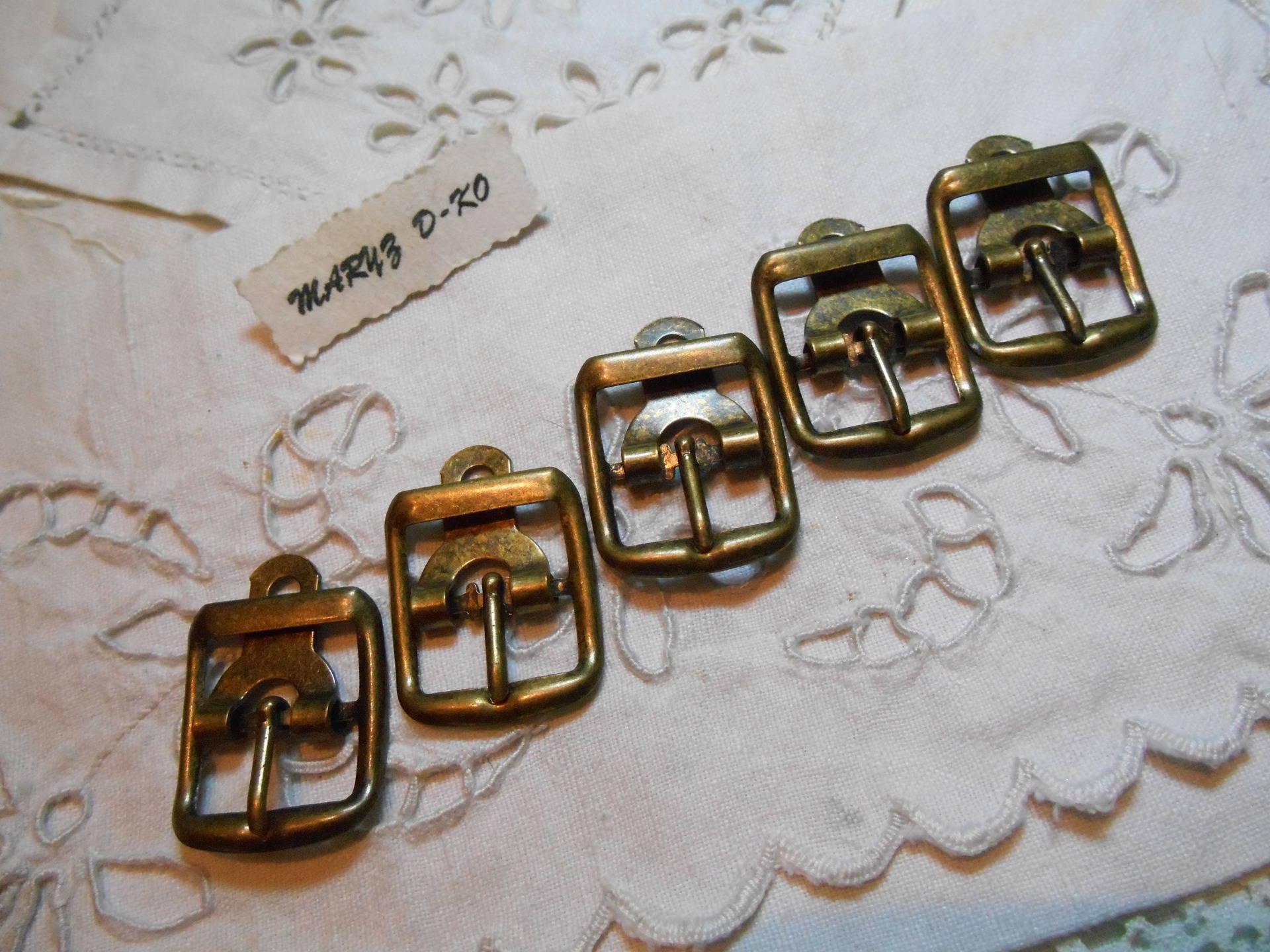 Lot de 5 boucles de ceinture ovales en métal couleur bronze