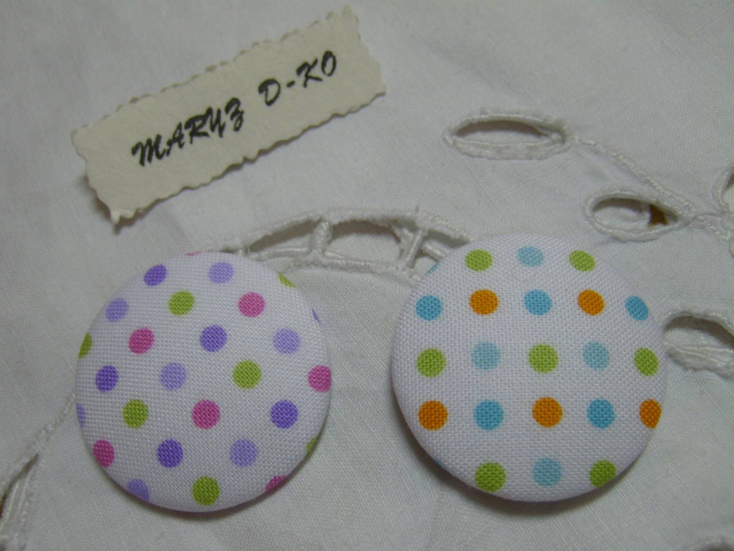 """Cabochons Boutons tissu  32mm """" Duo Pois multicolores"""""""