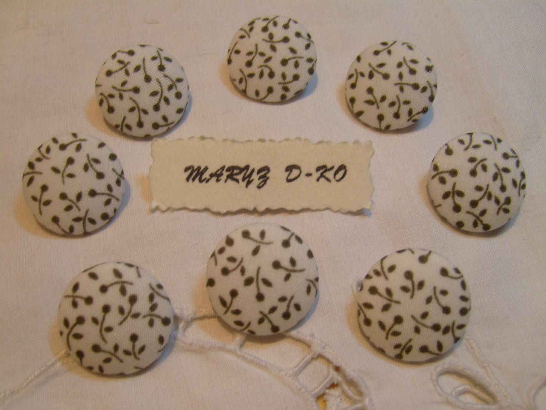 6 blanc avec fleur rose tissu boutons recouverts 20 mm