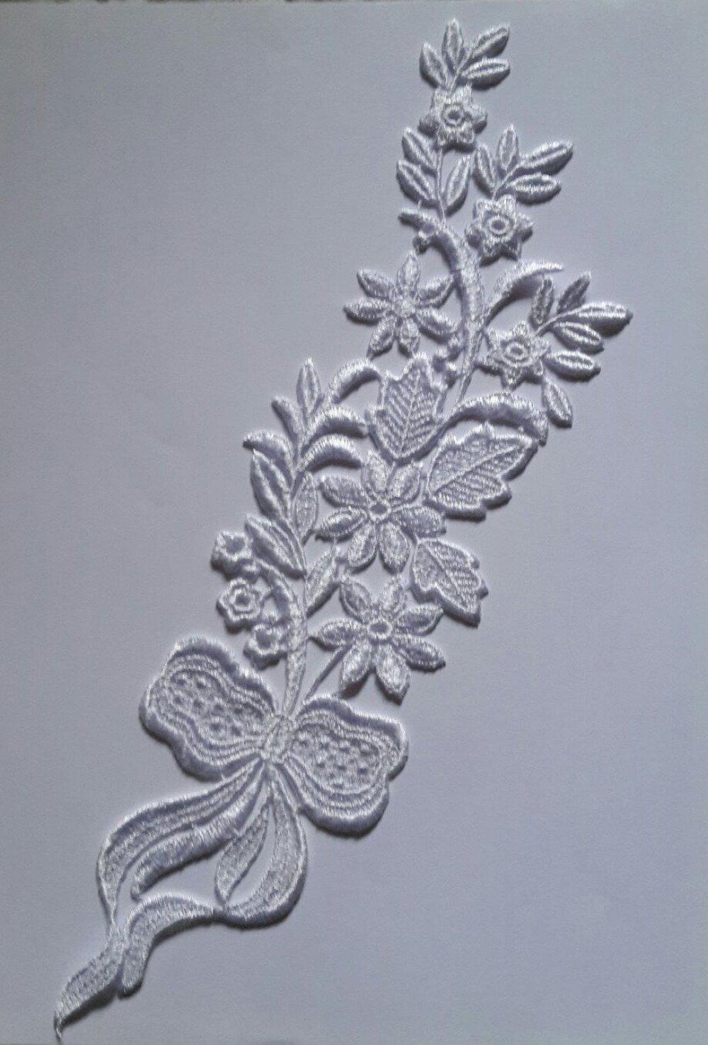 1 applique dentelle guipure de venise 31 cm X 8 cm blanc